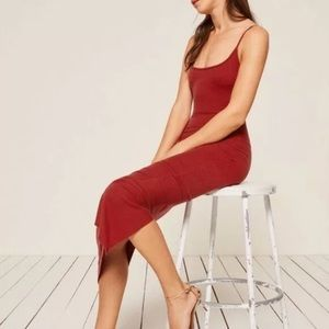 Reformation Red Ribbed Maxi Dress XS